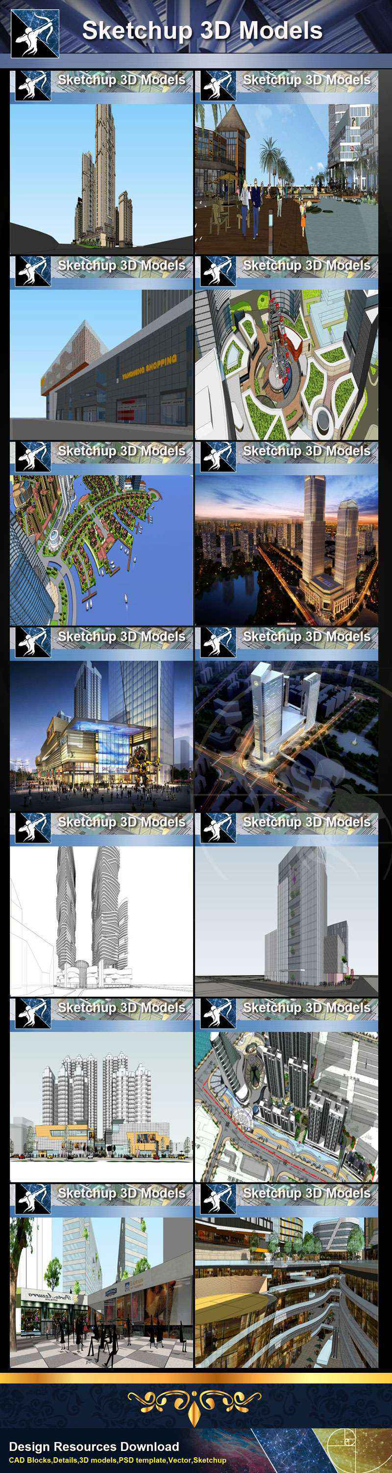 ★Best 25 Types of Mix Commercial,Residential Building Sketchup 3D Models Collection